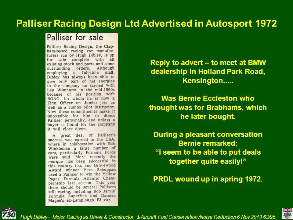 Palliser Racing Design Ltd Advertised in Autosport 1972