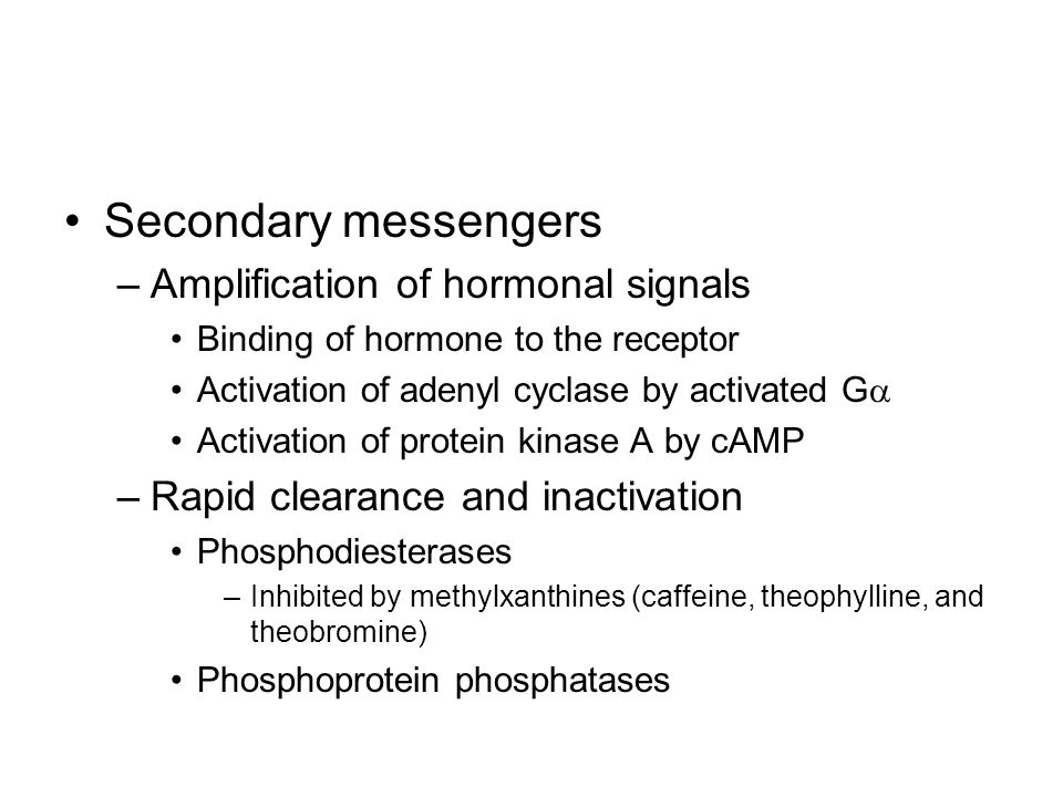 Secondary messengers Amplification of hormonal signals
