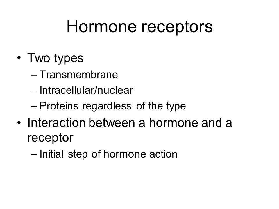 Hormone receptors Two types