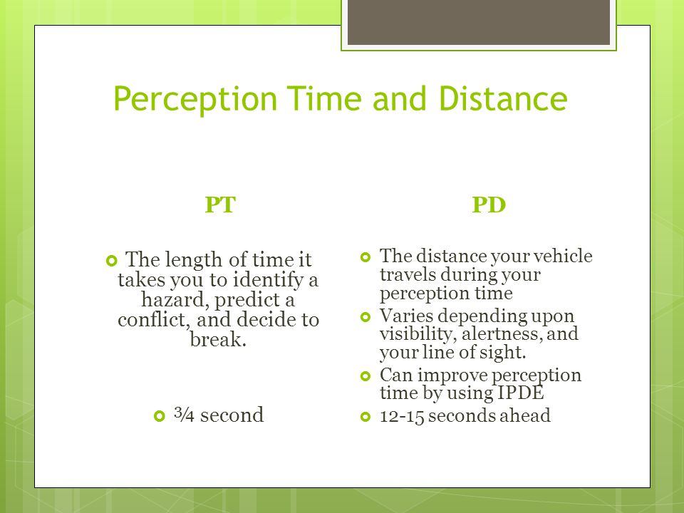 Perception Time and Distance