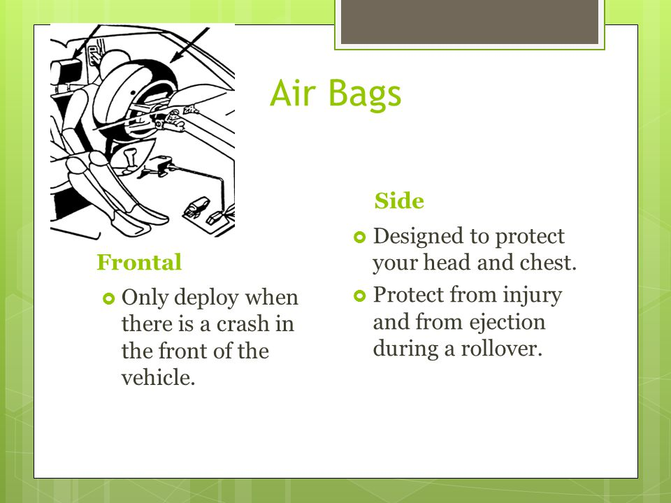 Air Bags Side Designed to protect your head and chest. Frontal