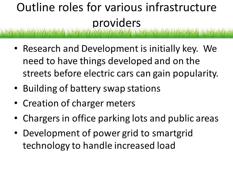 Outline roles for various infrastructure providers