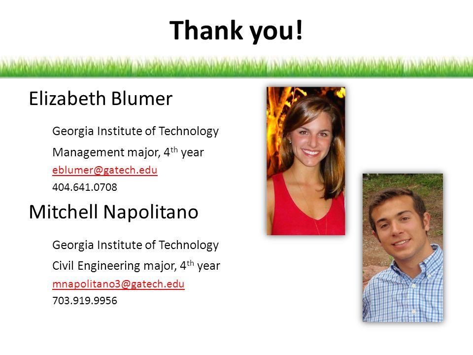 Thank you! Elizabeth Blumer Georgia Institute of Technology