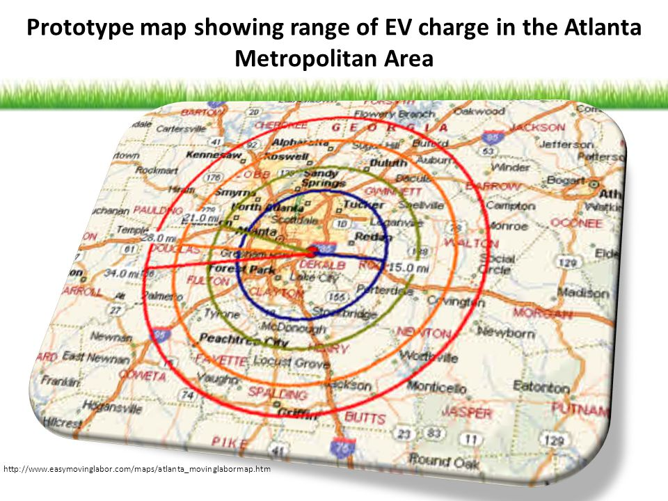 Prototype map showing range of EV charge in the Atlanta Metropolitan Area