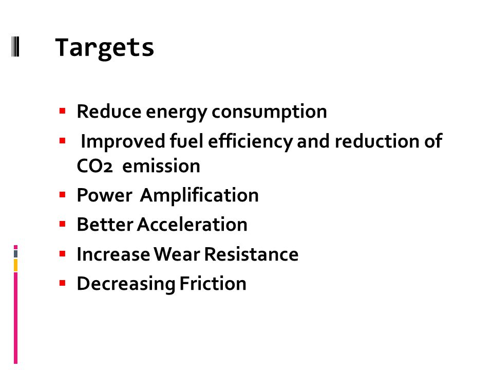 Targets Reduce energy consumption