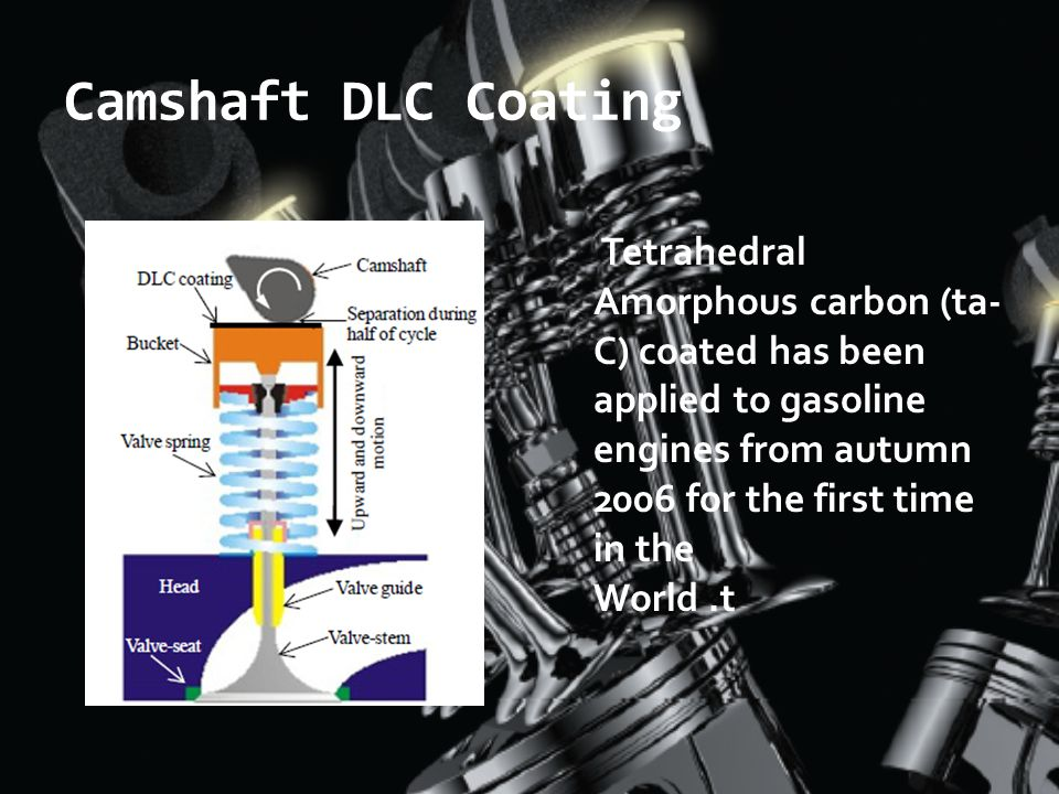 Camshaft DLC Coating Tetrahedral Amorphous carbon (ta-C) coated has been applied to gasoline engines from autumn 2006 for the first time in the.