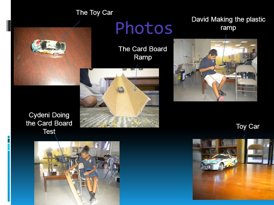 Photos The Toy Car David Making the plastic ramp The Card Board Ramp