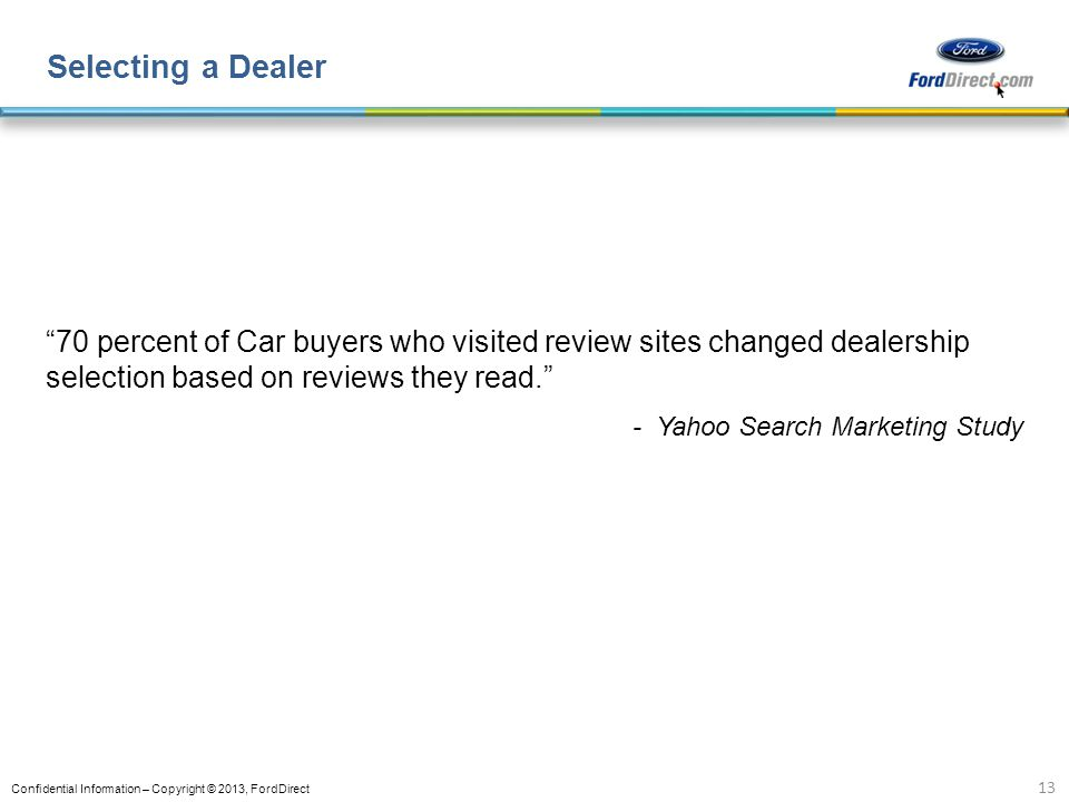 Selecting a Dealer 70 percent of Car buyers who visited review sites changed dealership selection based on reviews they read.