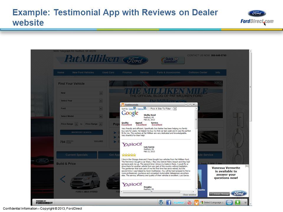 Example: Testimonial App with Reviews on Dealer website