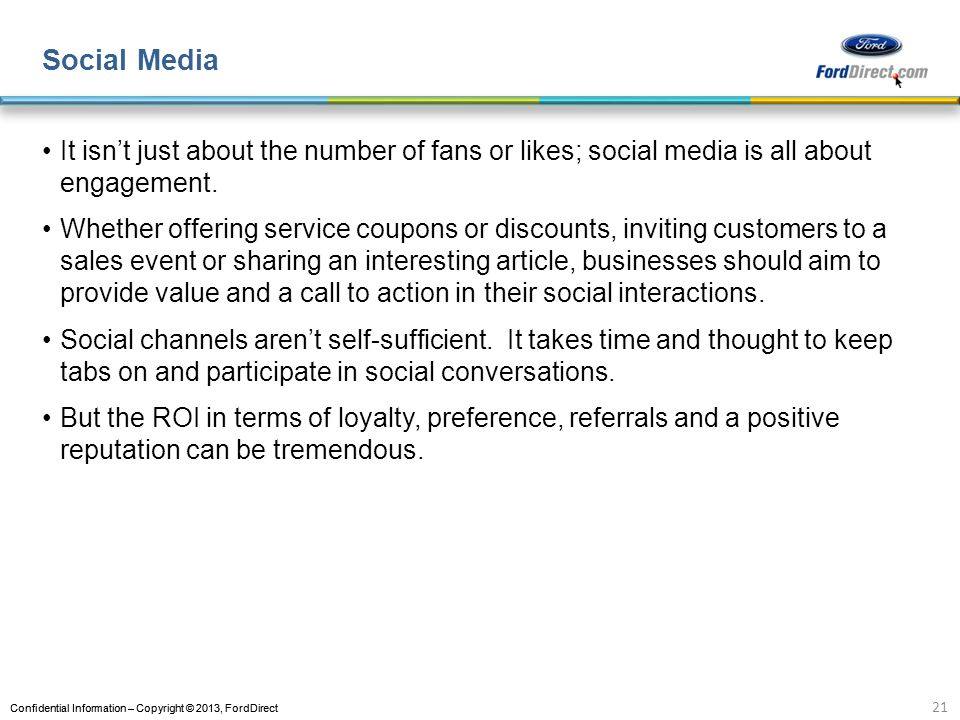 Social Media It isn't just about the number of fans or likes; social media is all about engagement.