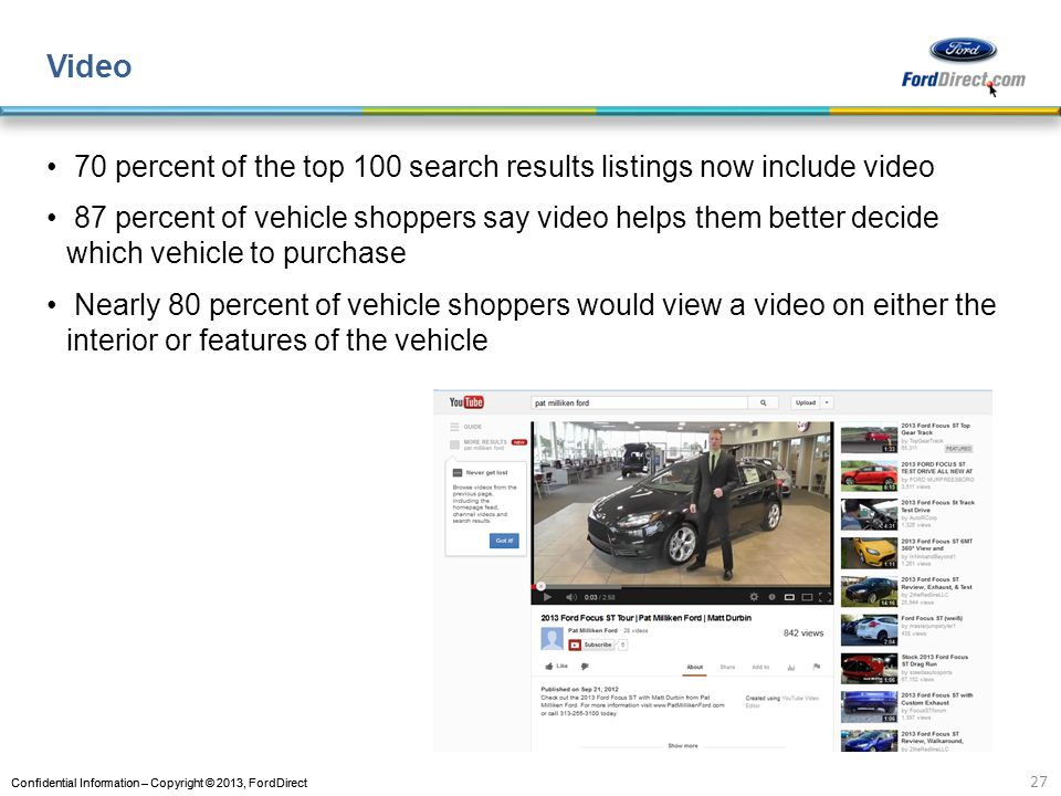 Video 70 percent of the top 100 search results listings now include video.