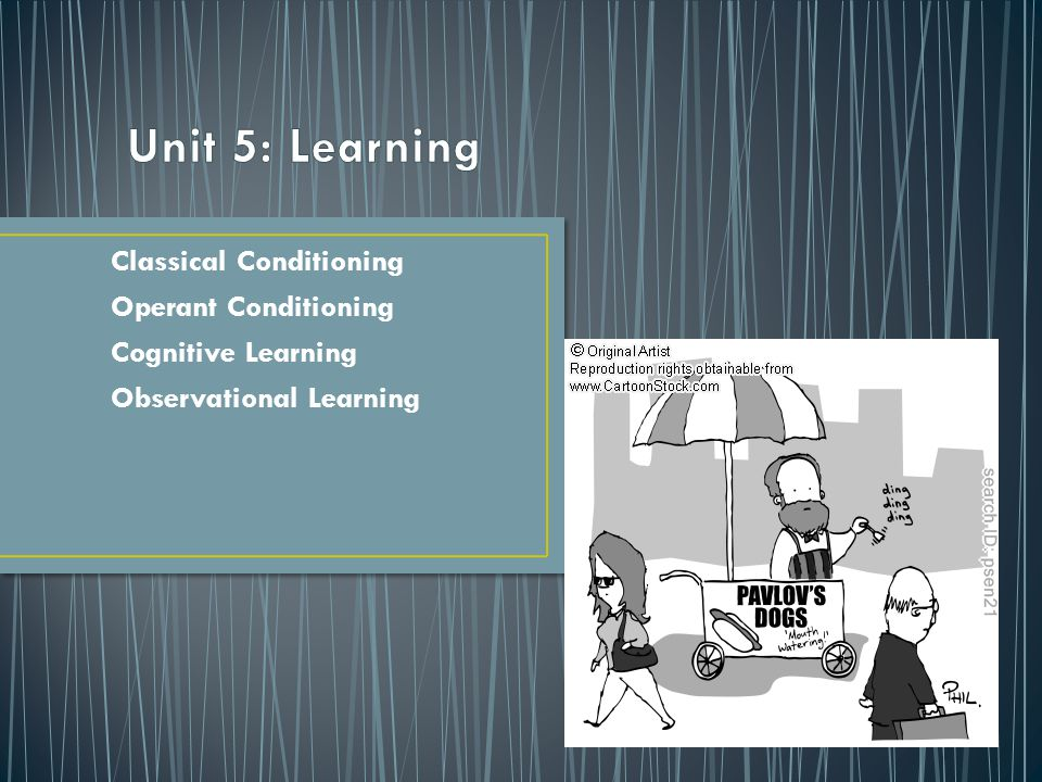 Unit 5: Learning Classical Conditioning Operant Conditioning