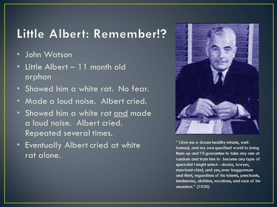 Little Albert: Remember!