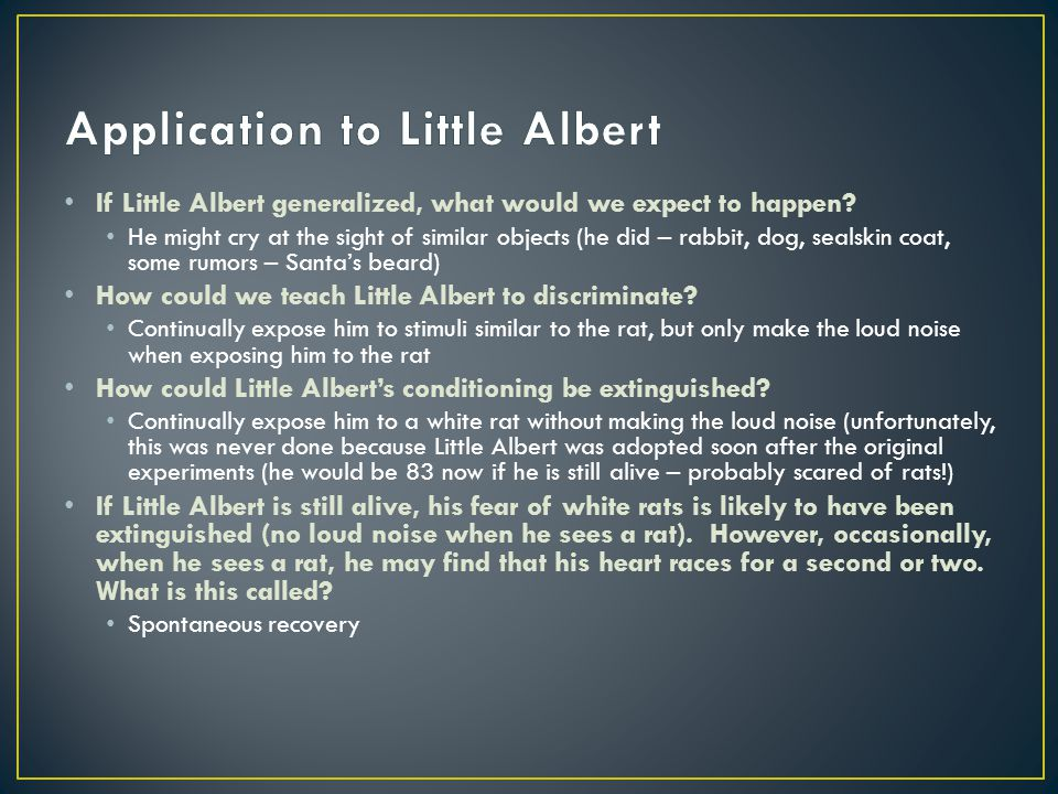 Application to Little Albert