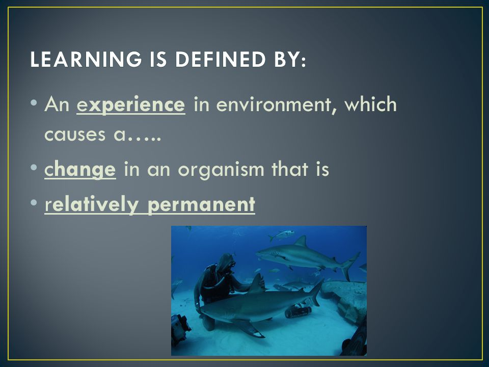 LEARNING IS DEFINED BY: