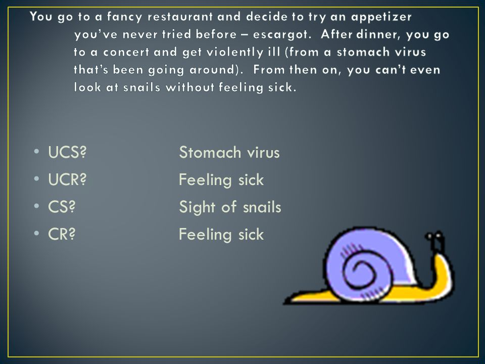UCS Stomach virus UCR Feeling sick CS Sight of snails
