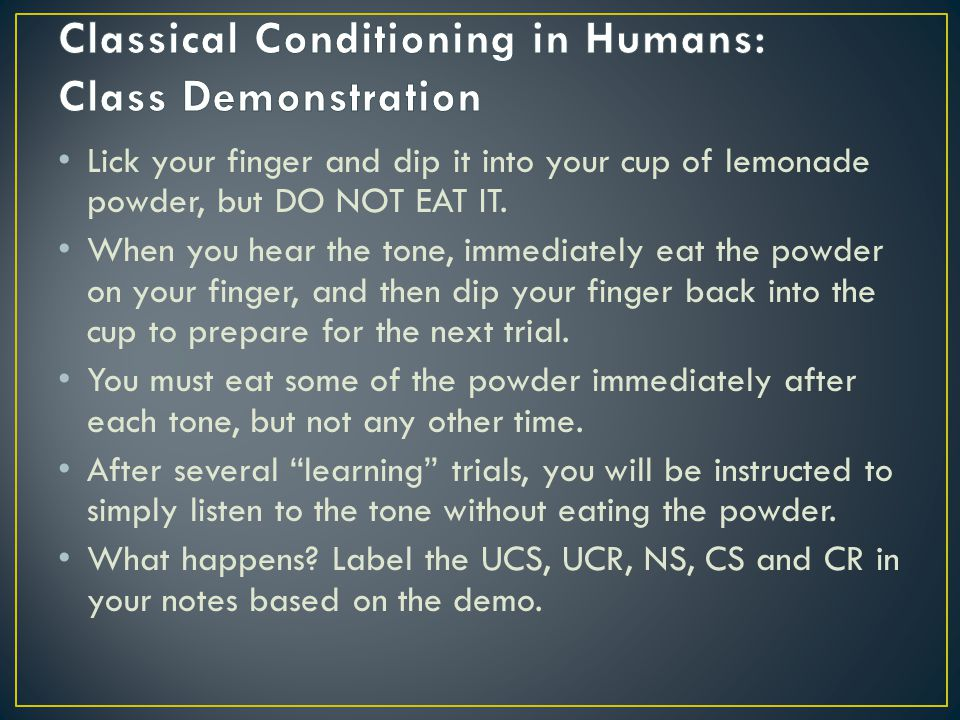 Classical Conditioning in Humans: Class Demonstration