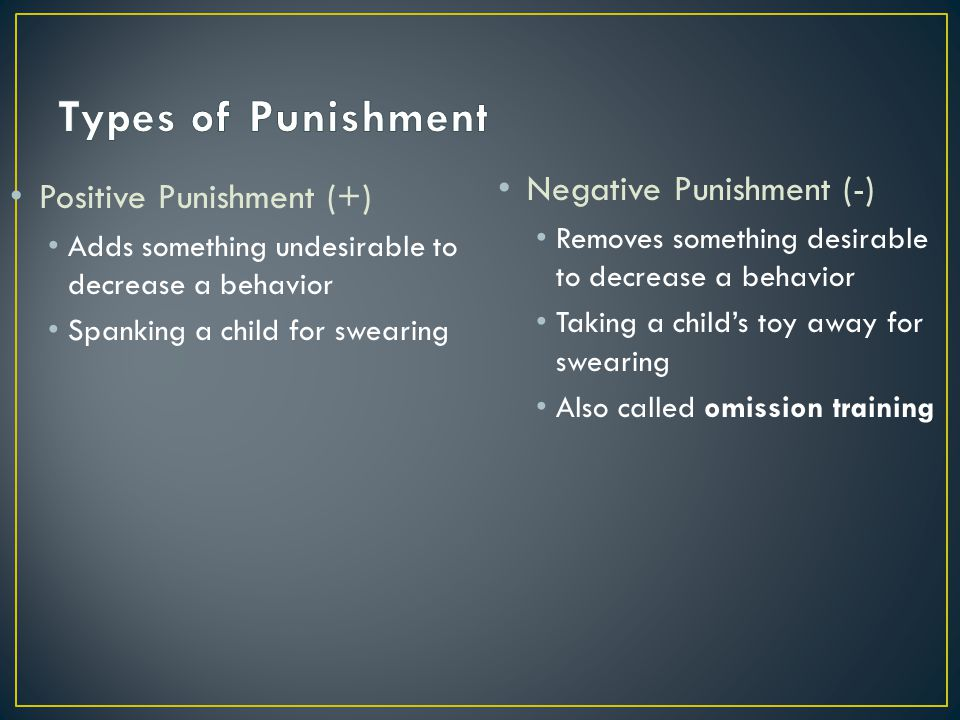Types of Punishment Negative Punishment (-) Positive Punishment (+)