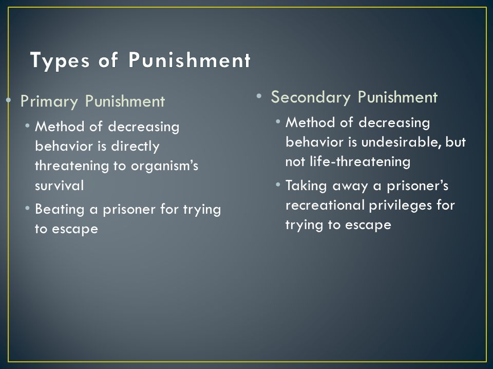 Types of Punishment Secondary Punishment Primary Punishment