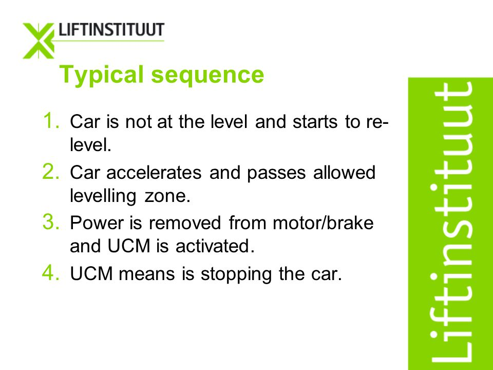 Typical sequence Car is not at the level and starts to re-level.