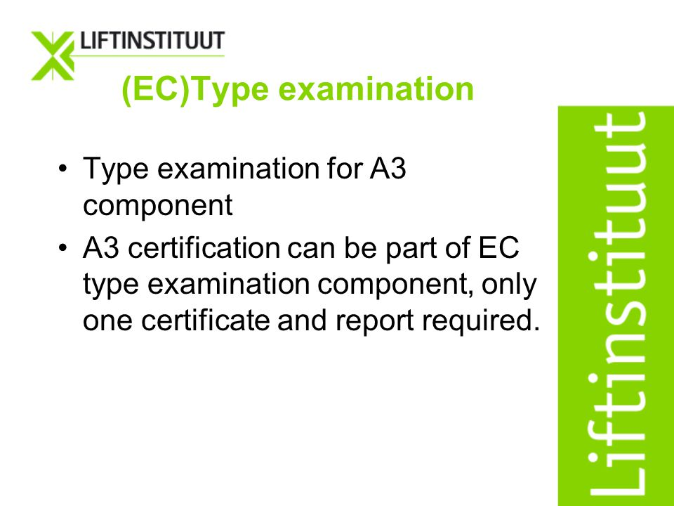 (EC)Type examination Type examination for A3 component