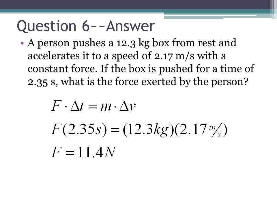 Question 6~~Answer