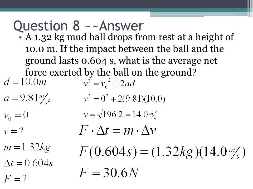 Question 8 ~~Answer