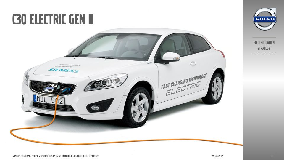 C30 electric gen ii Lennart Stegland, Volvo Car Corporation EPS, lsteglan@volvocars.com, Propriety.