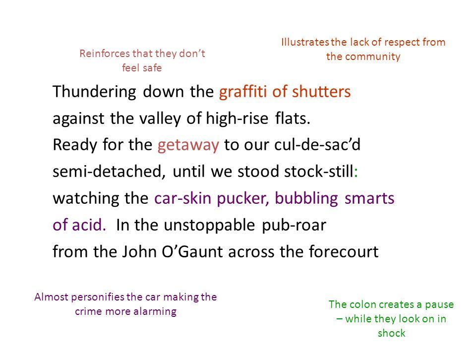 Thundering down the graffiti of shutters