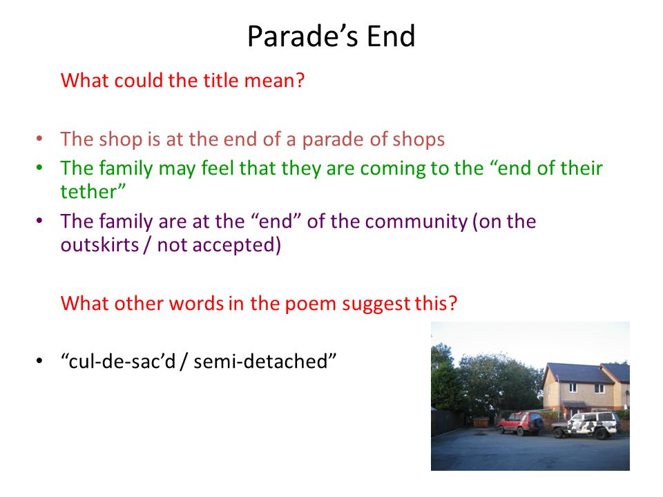 Parade's End What could the title mean