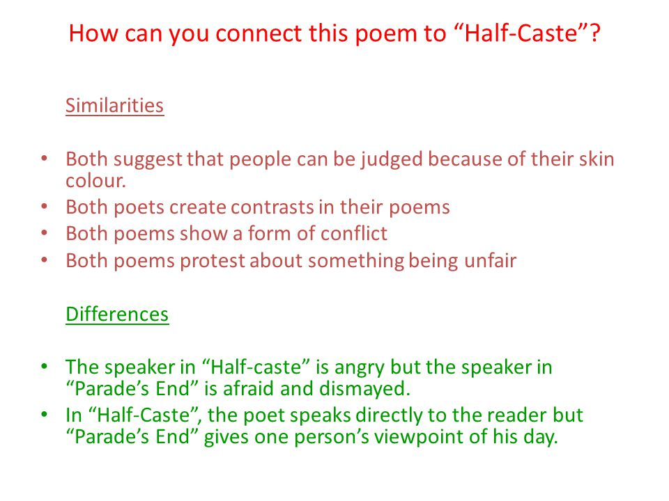 How can you connect this poem to Half-Caste