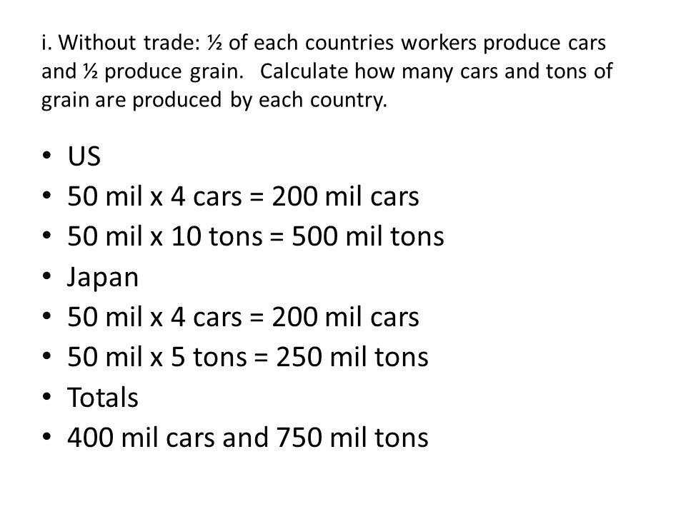 US 50 mil x 4 cars = 200 mil cars 50 mil x 10 tons = 500 mil tons