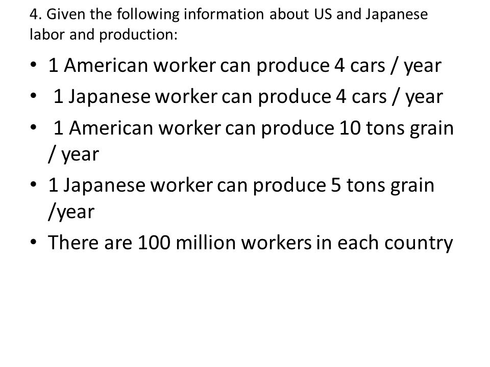 1 American worker can produce 4 cars / year