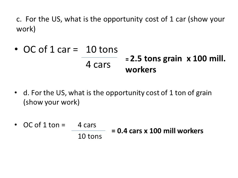 c. For the US, what is the opportunity cost of 1 car (show your work)