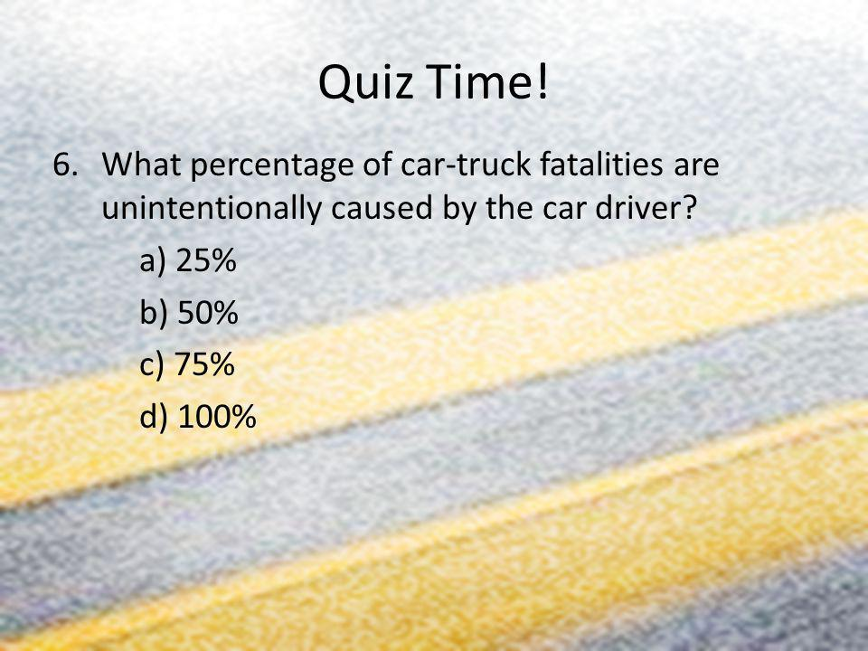 Quiz Time! What percentage of car-truck fatalities are unintentionally caused by the car driver a) 25%