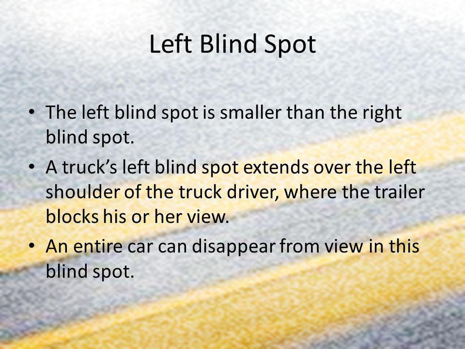 Left Blind Spot The left blind spot is smaller than the right blind spot.