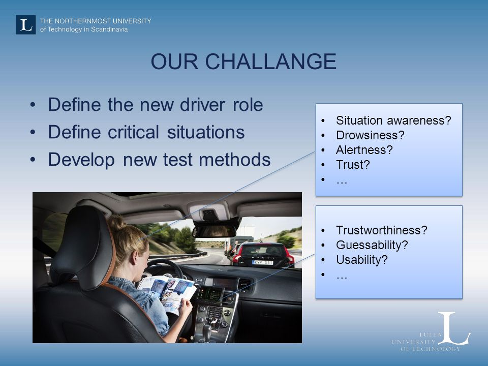 OUR CHALLANGE Define the new driver role Define critical situations