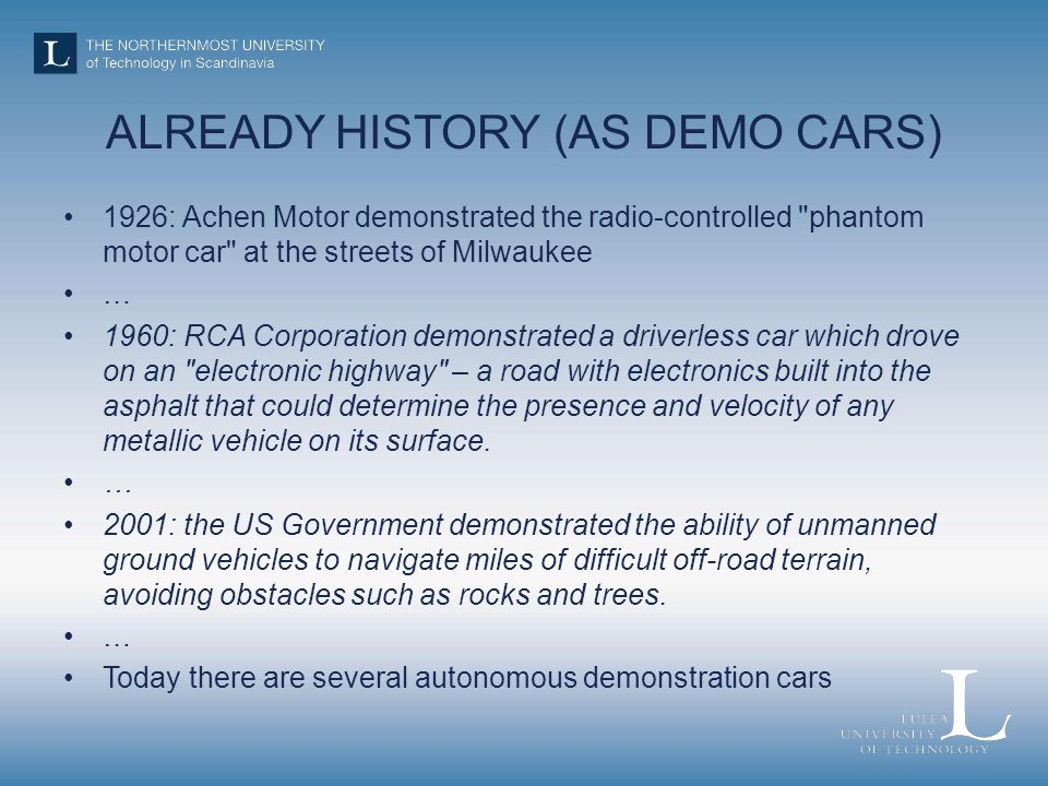 ALREADY HISTORY (AS DEMO CARS)