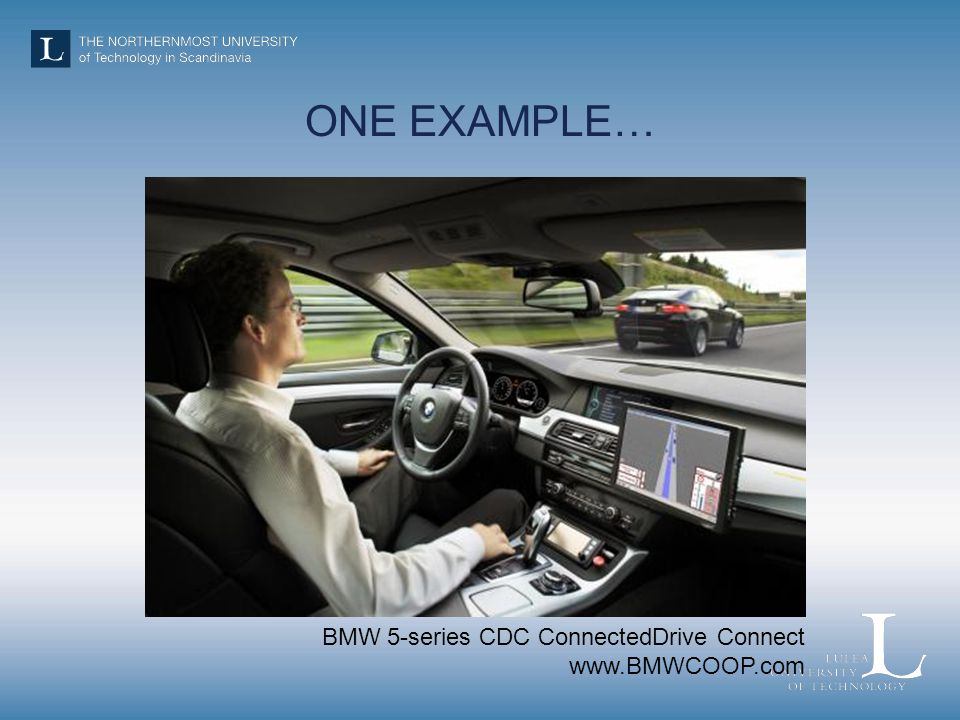 ONE EXAMPLE… BMW 5-series CDC ConnectedDrive Connect www.BMWCOOP.com