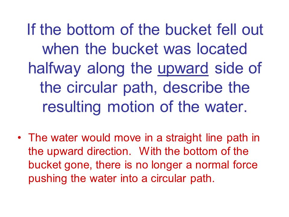 If the bottom of the bucket fell out when the bucket was located halfway along the upward side of the circular path, describe the resulting motion of the water.