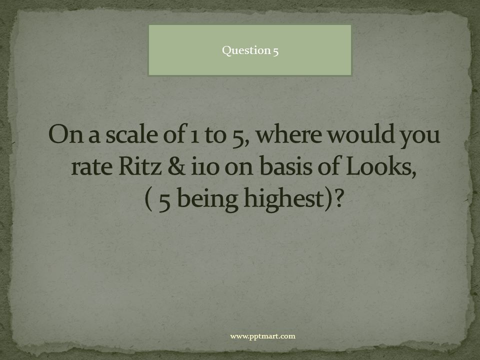 Question 5 On a scale of 1 to 5, where would you rate Ritz & i10 on basis of Looks, ( 5 being highest)