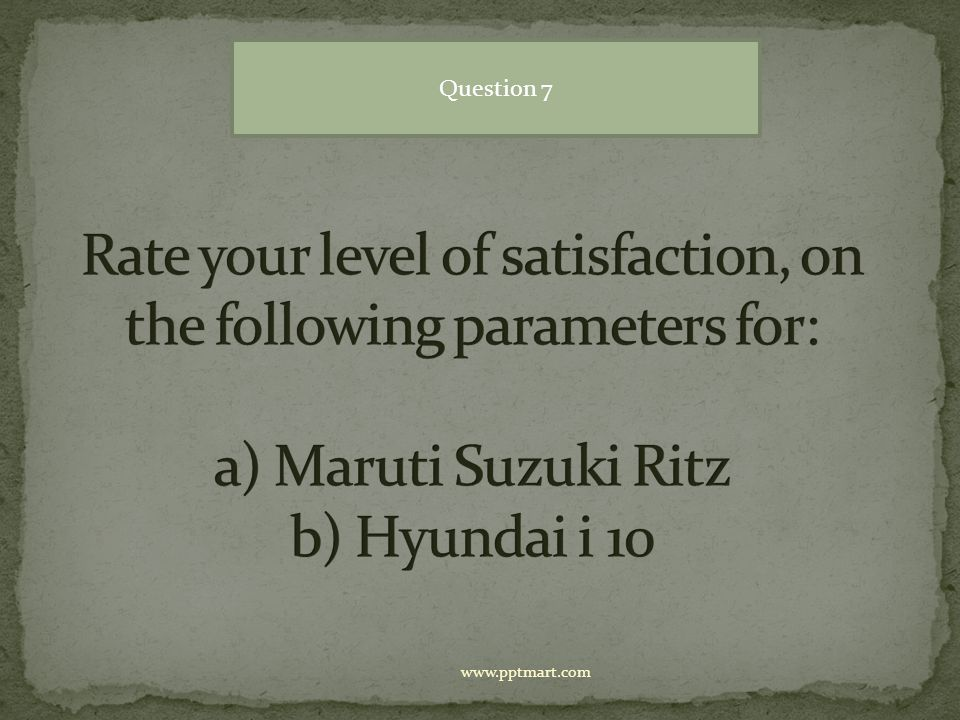Question 7 Rate your level of satisfaction, on the following parameters for: a) Maruti Suzuki Ritz b) Hyundai i 10.