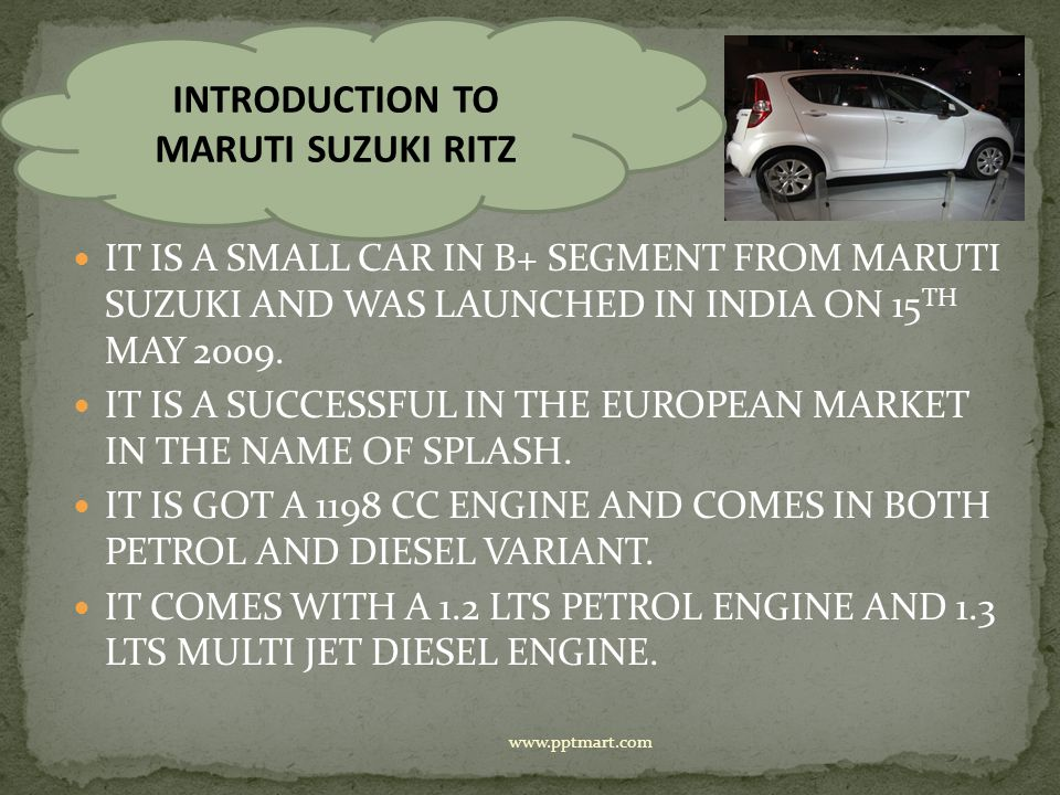 INTRODUCTION TO MARUTI SUZUKI RITZ