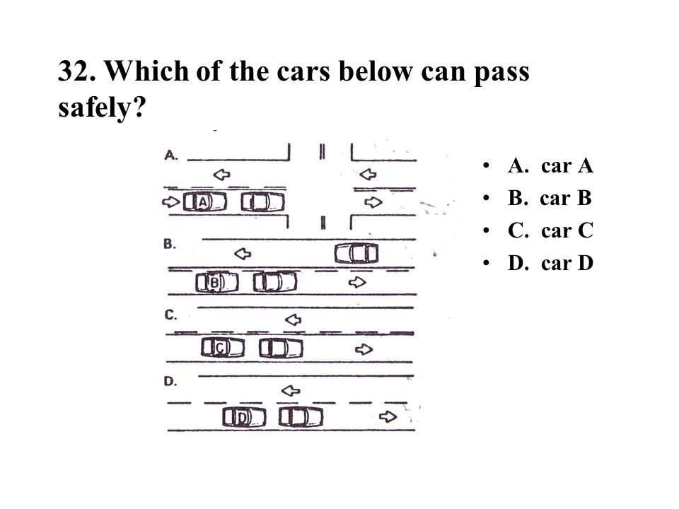32. Which of the cars below can pass safely