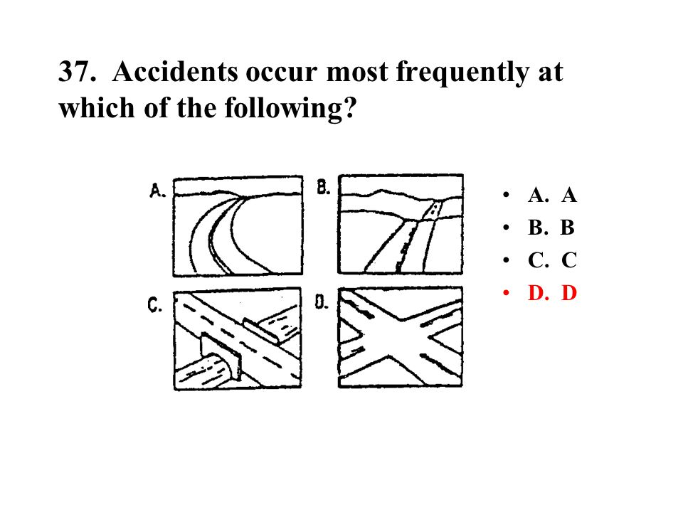 37. Accidents occur most frequently at which of the following