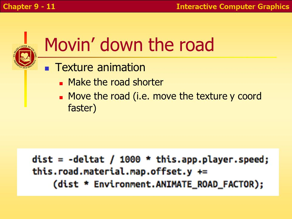 Movin' down the road Texture animation Make the road shorter