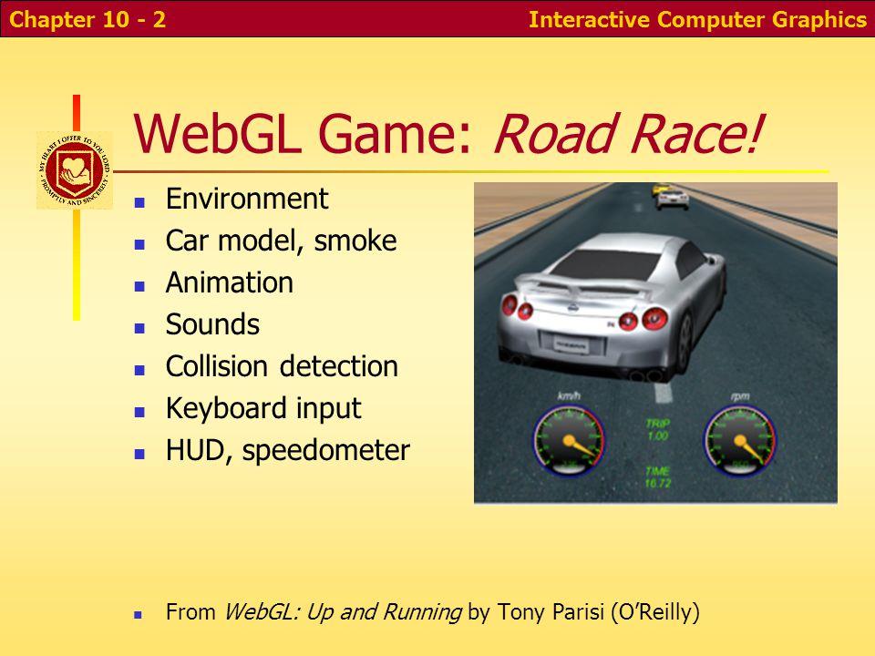 WebGL Game: Road Race! Environment Car model, smoke Animation Sounds