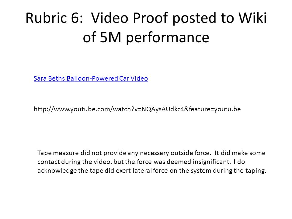 Rubric 6: Video Proof posted to Wiki of 5M performance