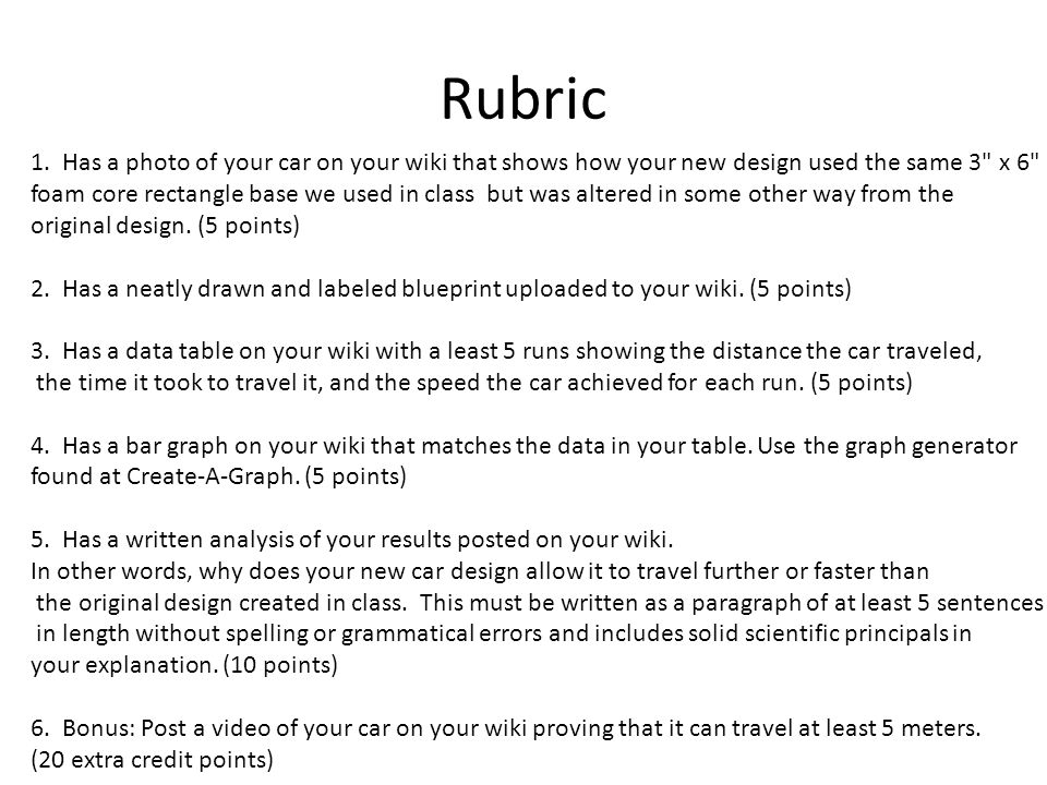 Rubric 1. Has a photo of your car on your wiki that shows how your new design used the same 3 x 6