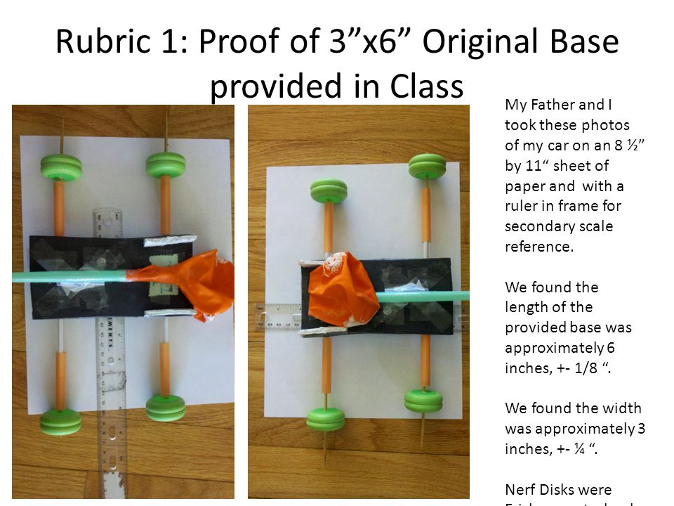 Rubric 1: Proof of 3 x6 Original Base provided in Class